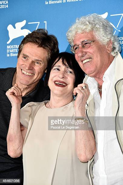 Actors Willem DafoeAdriana AstiNinetto Davoli attend the 'Pasolini' photocall at the Palazzo Del Cinema during the 71st Venice Film Festival on...