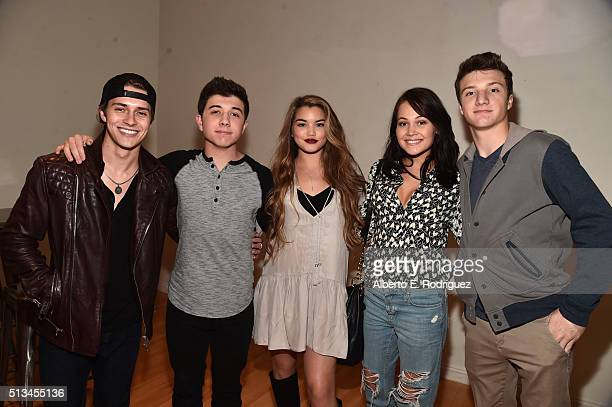Actors William Brent Bradley Steven Perry Paris Berelc Kelli Berglund and Jake Short attend the premiere party of Disney XD's 'Lab Rats Elite Force'...