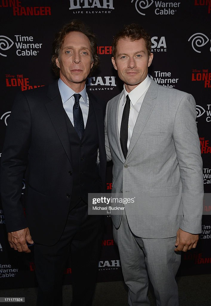 Actors William Fichtner and James Badge Dale attend The World Premiere of Disney/Jerry Bruckheimer Films' 'The Lone Ranger' at Disney California...