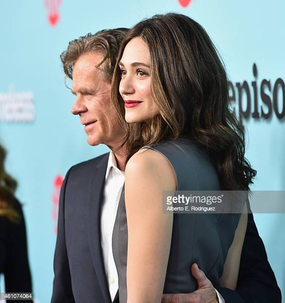 Actors William H Macy and Emmy Rossum arrive to Showtime's Celebration of AllNew Seasons Of 'Shameless' 'House Of Lies' And 'Episodes' at Cecconi's...