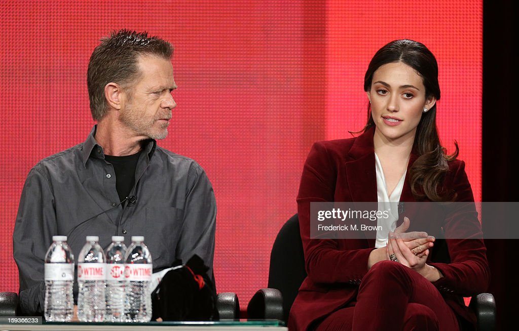 Actors William H. Macy and Emmy Rossum of 'Shameless' speak onstage during the Showtime portion of the 2013 Winter TCA Tour at Langham Hotel on January 12, 2013 in Pasadena, California.