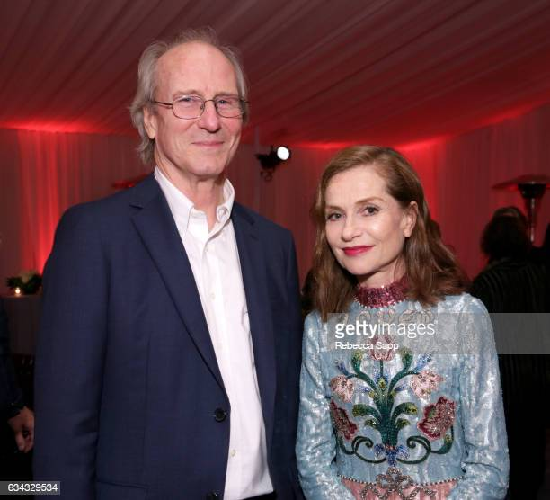 Actors William Hurt and Isabelle Huppert attend the afterparty at the Montecito Award during the 32nd Santa Barbara International Film Festival at...