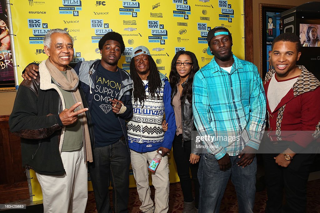 Actors William Pulliam, Stanley Hunt, Koran Streets, Delynn Rose, Les 'DJ Upgrade' Aderibigbe and Devon Libran pose in the greenroom at the screening of 'Licks' during the 2013 SXSW Music, Film + Interactive Festival at Alamo Ritz on March 9, 2013 in Austin, Texas.