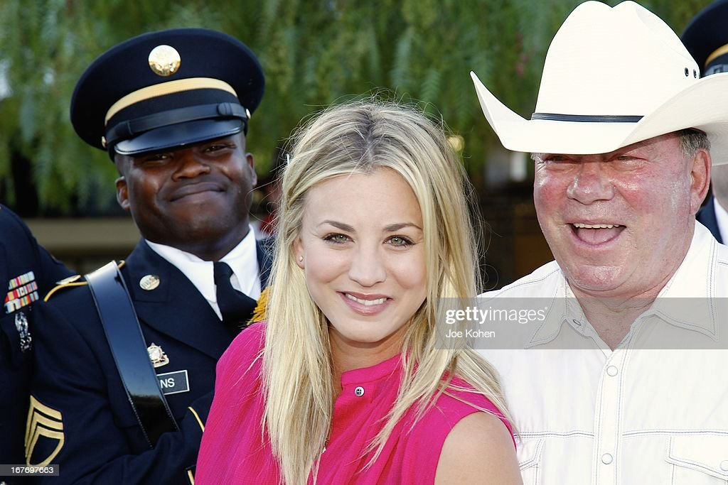 Actors William Shatner and Kaley Cuoco attend the 23rd Annual William Shatner Priceline.com Hollywood Charity Horse Show at Los Angeles Equestrian Center on April 27, 2013 in Los Angeles, California.