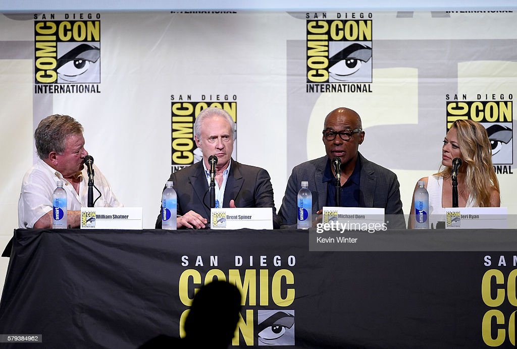 Actors William Shatner, Brent Spiner, Michael Dorn, and Jeri Ryan attend the 'Star Trek' panel during Comic-Con International 2016 at San Diego Convention Center on July 23, 2016 in San Diego, California.