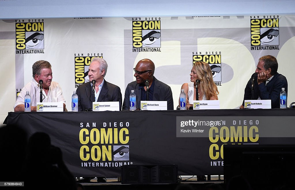 Actors William Shatner, Brent Spiner, Michael Dorn, Jeri Ryan, and Scott Bakula attend the 'Star Trek' panel during Comic-Con International 2016 at San Diego Convention Center on July 23, 2016 in San Diego, California.