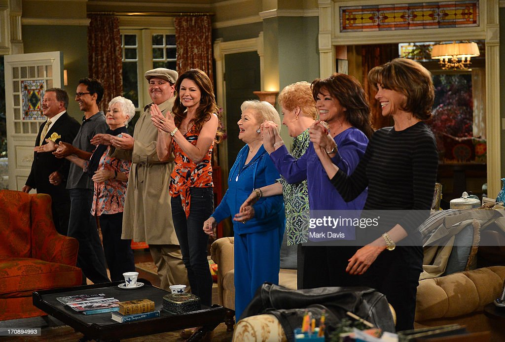 Actors William Shatner, Danny Pudi, Shirley Jones, Brian Baumgartner, Jane Leeves, Betty White, Georgia Engel, Valerie Bertinelli and Wendie Malick attend TV Land's 'Hot in Cleveland' Live Show on June 19, 2013 in Studio City, California. (TV Land's Hot in Cleveland goes LIVE at 10:00pm ET in the first LIVE broadcast in the channel's history. Betty White, Jane Leeves, Wendie Malick and Valerie Bertinelli are joined by guest stars William Shatner (Star Trek), Shirley Jones (The Partridge Family), Daniel Pudi (Community) and Brian Baumgartner (The Office).