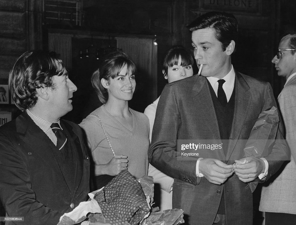 Actors (left to right) Willy Rizzo, Natalie Delon, <a gi-track='captionPersonalityLinkClicked' href=/galleries/search?phrase=Elsa+Martinelli&family=editorial&specificpeople=223923 ng-click='$event.stopPropagation()'>Elsa Martinelli</a> and <a gi-track='captionPersonalityLinkClicked' href=/galleries/search?phrase=Alain+Delon&family=editorial&specificpeople=228460 ng-click='$event.stopPropagation()'>Alain Delon</a> (right|), Rome, 28th October 1965.