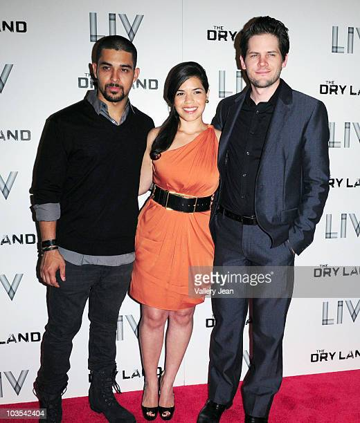 Actors Wilmer Valderrama America Ferrera and Director Ryan Piers Williams attends Miami Premiere Screening of 'The Dry Land' at Colony Theater on...