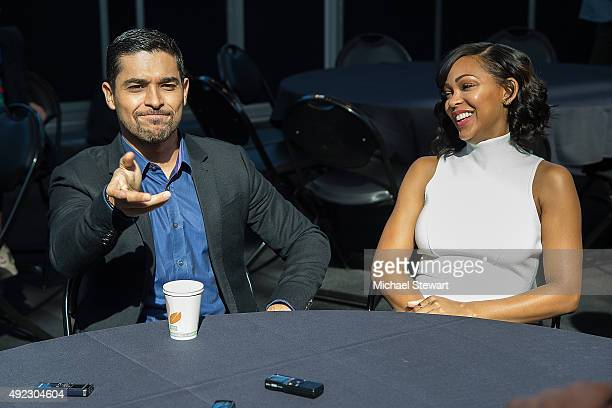 Actors Wilmer Valderrama and Meagan Good pose in the press room for the 'Minority Report' panel during Comic Con Day 4 at The Jacob K Javits...