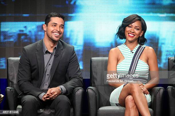 Actors Wilmer Valderrama and Meagan Good speak onstage during the 'Minority Report' panel discussion at the FOX portion of the 2015 Summer TCA Tour...