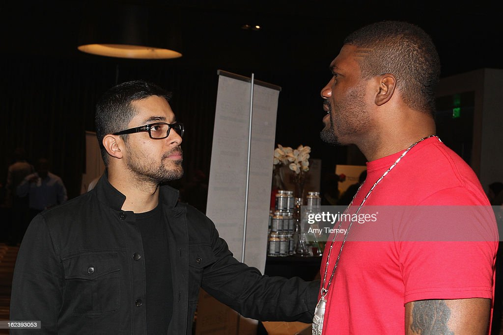 Actors Wilmer Valderrama (L) and Quinton 'Rampage' Jackson attend Kari Feinstein's Pre-Academy Awards Style Lounge at W Hollywood on February 22, 2013 in Hollywood, California.