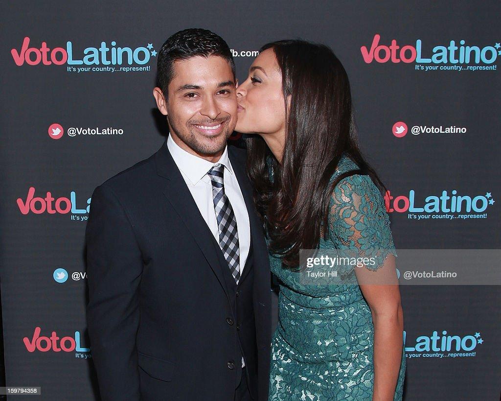 Actors Wilmer Valderrama and Rosario Dawson attend Voto Latino's 2013 Inauguration Celebration at Oya Restaurant on January 20, 2013 in Washington, DC.