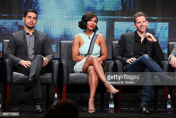 Actors Wilmer Valderrama Meagan Good and Stark Sands speak onstage during the 'Minority Report' panel discussion at the FOX portion of the 2015...