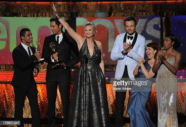 Actors Wilmer Valderrama Zachary Levi Host Jane Lynch actors Joel McHale Kate Flannery and Taraji P Henson speak onstage during the 63rd Annual...