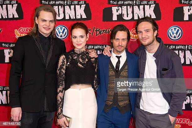 Actors Wilson Gonzalez Ochsenknecht Emilia Schuele Tom Schilling and Frederick Lau attend the premiere of the film 'Tod den Hippies Es lebe der Punk'...