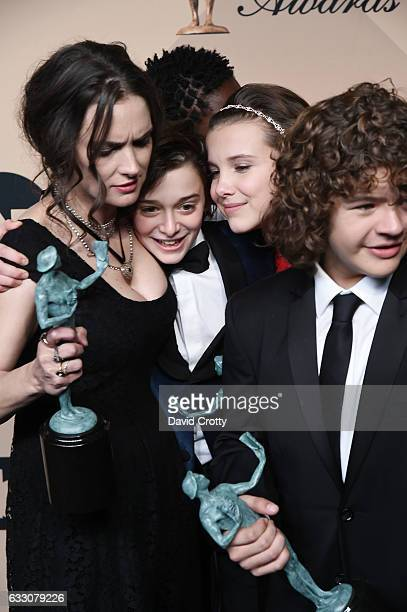 R Actors Winona Ryder Noah Schapp Millie Bobbie Brown and Gaten Matarazzo recipients of the Outstanding Ensemble in a Drama Series award for...