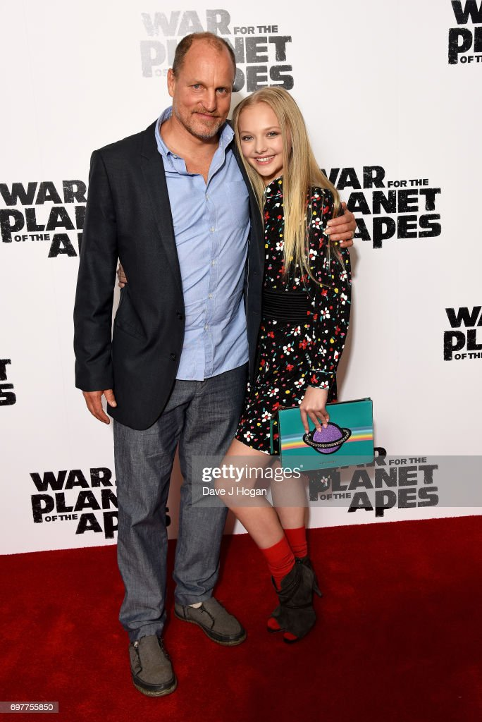 Actors (L) Woody Harrelson and Amiah Miller attend a screening of 'War For The Planet Of The Apes' at The Ham Yard Hotel on June 19, 2017 in London, England.