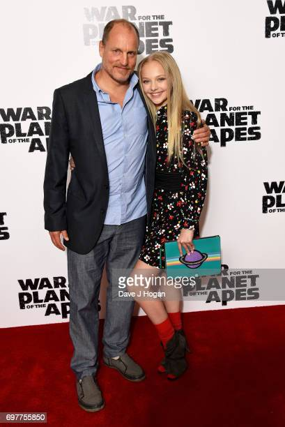 Actors Woody Harrelson and Amiah Miller attend a screening of 'War For The Planet Of The Apes' at The Ham Yard Hotel on June 19 2017 in London England