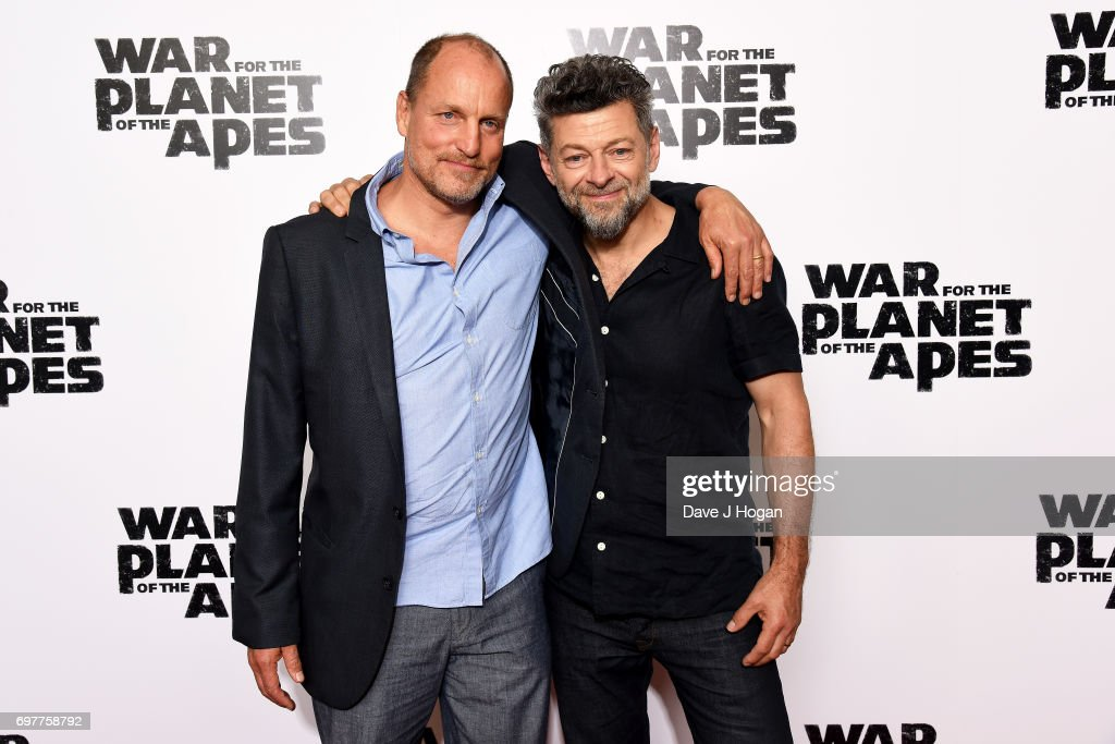 Actors (L) Woody Harrelson and Andy Serkis attend a screening of 'War For The Planet Of The Apes' at The Ham Yard Hotel on June 19, 2017 in London, England.