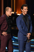 Actors Woody Harrelson and Matthew McConaughey speak onstage at the 66th Annual Primetime Emmy Awards held at Nokia Theatre LA Live on August 25 2014...