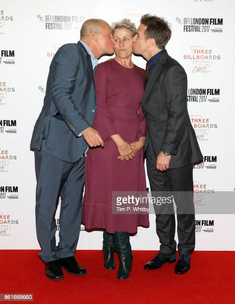 Actors Woody Harrelson Frances McDormand and Sam Rockwell attend the UK Premiere of 'Three Billboards Outside Ebbing Missouri' at the Closing Night...