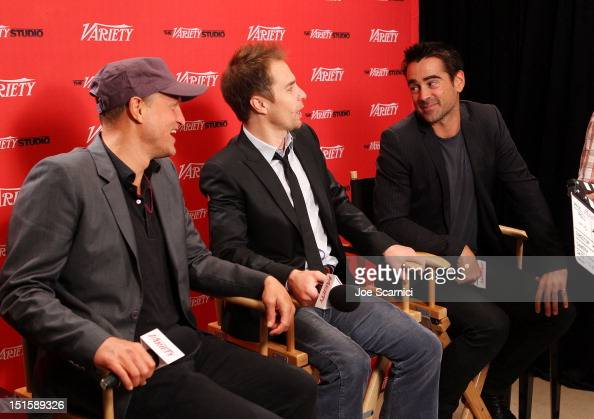 Actors Woody Harrelson Sam Rockwell and Colin Farrell at Variety Studio presented by Moroccanoil on Day 1 at Holt Renfrew Toronto during the 2012...