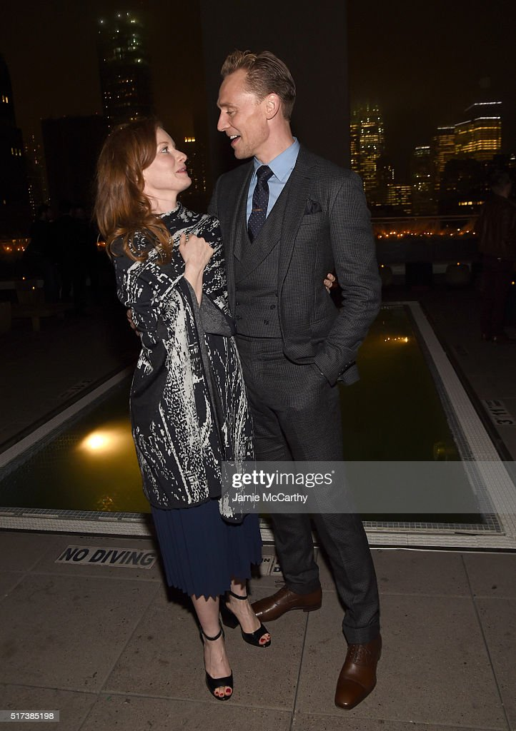 Actors Wrenn Schmidt and Tom Hiddleston attend the after party for the screening of Sony Pictures Classics' 'I Saw the Light' hosted by The Cinema...
