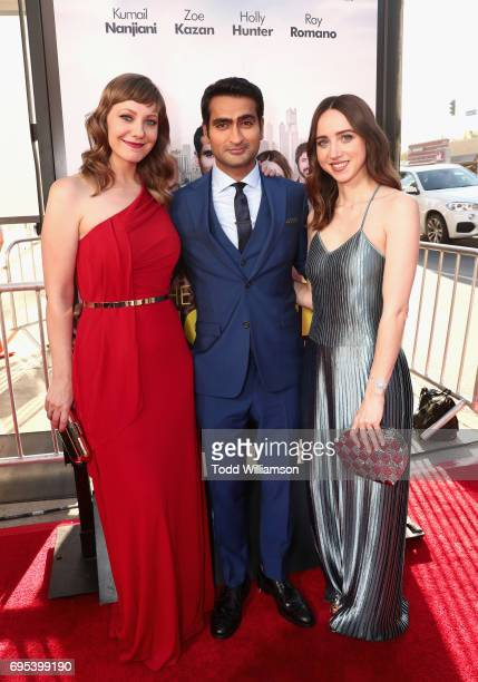 Actors/ writers Emily V Gordon Kumail Nanjian and actor Zoe Kazan attend Amazon Studios And Lionsgate Present The LA Premiere Of 'THE BIG SICK' at...