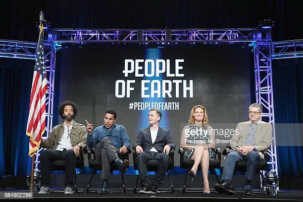 Actors Wyatt Cenac Oscar Nunez creator/showrunner David Jenkins Ana Gastayer and executive producer Greg Daniels speak onstage during the 'TBS/People...