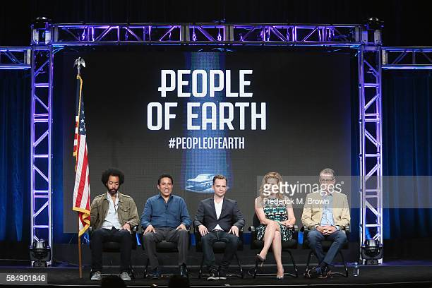Actors Wyatt Cenac Oscar Nunez executive producer David Jenkins Ana Gastayer and executive producer Greg Daniels speak onstage during the 'TBS/People...