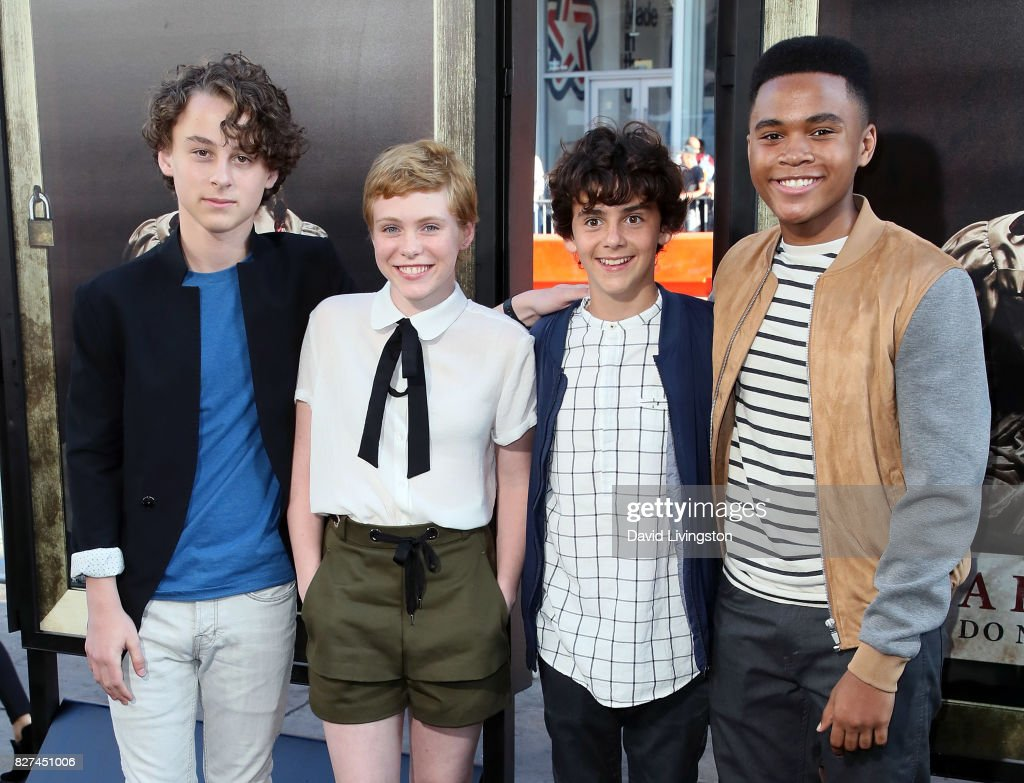 Actors Wyatt Oleff, Sophia Lillis, Jack Dylan Grazer and Chosen Jacobs attend the premiere of New Line Cinema's 'Annabelle: Creation' at TCL Chinese Theatre on August 7, 2017 in Hollywood, California.