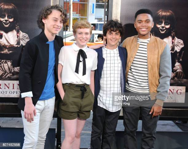 Actors Wyatt Oleff Sophia Lillis Jack Dylan Grazer and Chosen Jacobs attend the premiere of New Line Cinema's' 'Annabelle Creation' at TCL Chinese...