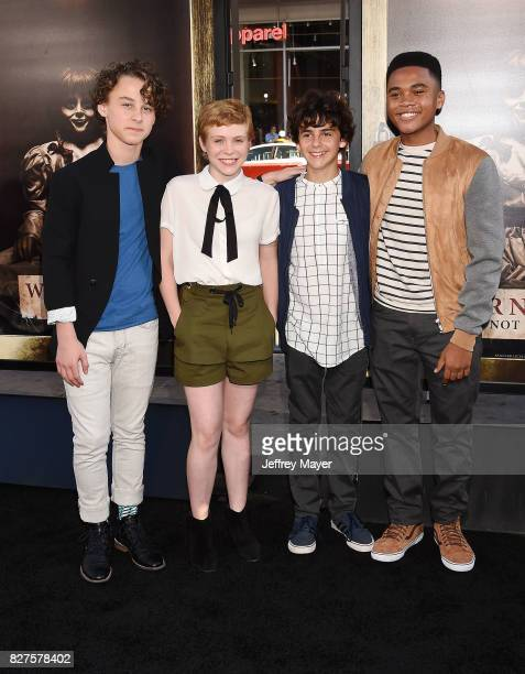 Actors Wyatt Oleff Sophia Lillis Jack Dylan Grazer and Chosen Jacobs attend the premiere of New Line Cinema's 'Annabelle Creation' at TCL Chinese...