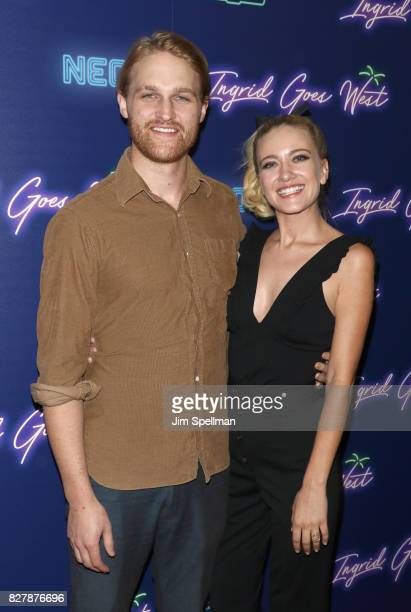 Actors Wyatt Russell and Meredith Hagner attend The New York premiere of 'Ingrid Goes West' hosted by Neon at Alamo Drafthouse Cinema on August 8...