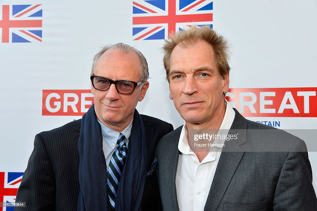 Actors Xander Berkley and <a gi-track='captionPersonalityLinkClicked' href=/galleries/search?phrase=Julian+Sands&family=editorial&specificpeople=642213 ng-click='$event.stopPropagation()'>Julian Sands</a> attend the GREAT British Film Reception at British Consul General's Residence on February 22, 2013 in Los Angeles, California.