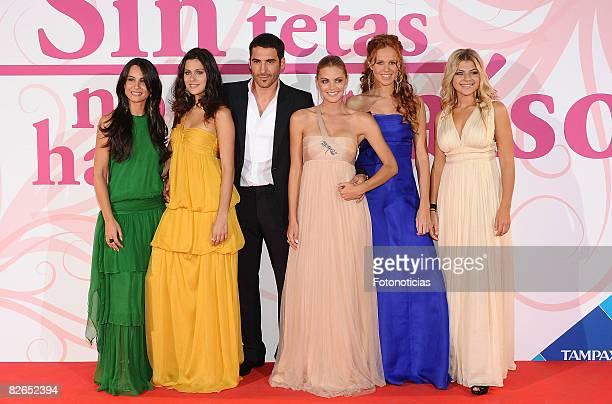 Actors Xenia Tostado Iris Lezcano Miguel Angel Silvestre Amaia Salamanca Maria Castro and Thais Blume attend 'Sin Tetas No Hay Paraiso' new season...
