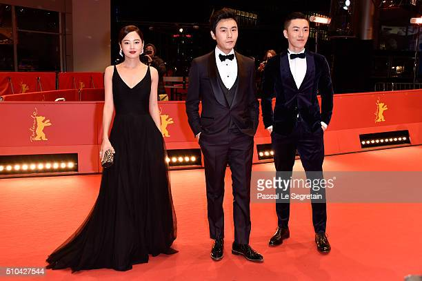 Actors Xin Zhi Lei Qin Hao and Wu Lipeng attend the 'Crosscurrent' premiere during the 66th Berlinale International Film Festival Berlin at Berlinale...