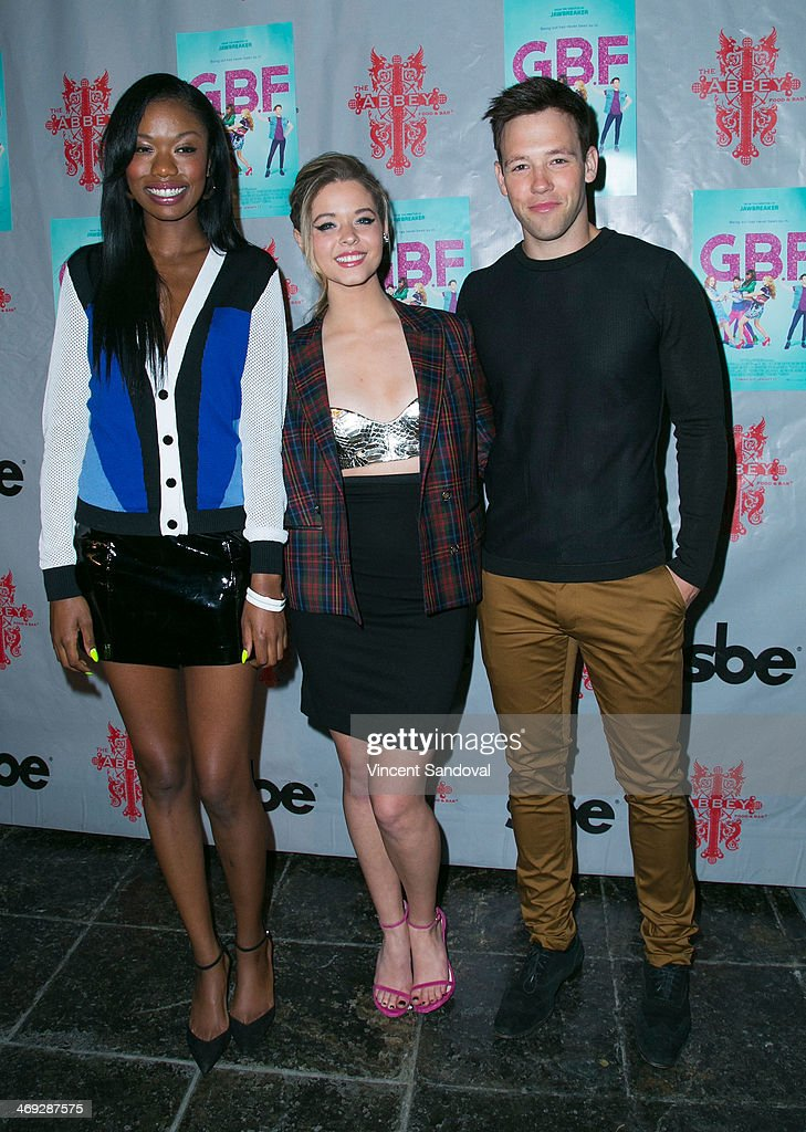 Actors Xosha Roquemore, <a gi-track='captionPersonalityLinkClicked' href=/galleries/search?phrase=Sasha+Pieterse&family=editorial&specificpeople=2237740 ng-click='$event.stopPropagation()'>Sasha Pieterse</a> and Taylor Frey attend the 'G.B.F.' DVD release party at The Abbey on February 13, 2014 in West Hollywood, California.