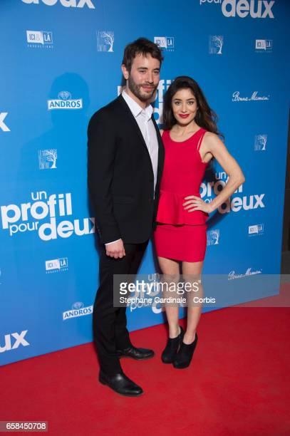Actors Yaniss Lespert and Fanny Valette attend the 'Un Profil Pour Deux' Premiere at Cinema UGC Normandie on March 27 2017 in Paris France