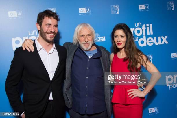 Actors Yaniss Lespert Pierre Richard and Fanny Valette attend the 'Un Profil Pour Deux' Premiere at Cinema UGC Normandie on March 27 2017 in Paris...