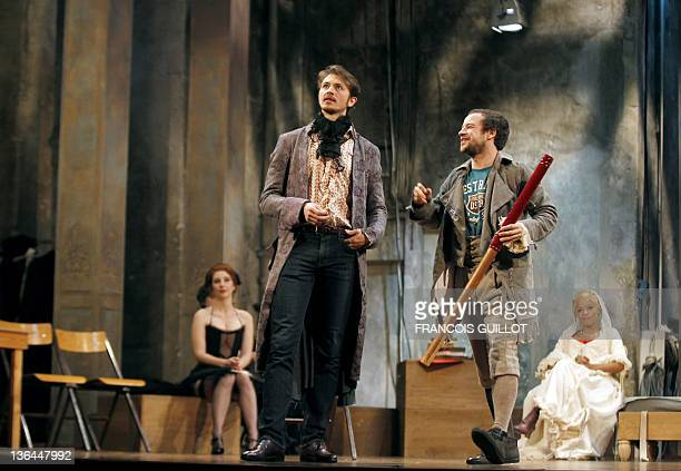 Actors Yannick Landrein CL performing as Vicomte de Vermont Lazare HersonMacarel and Jina Djemba are pictured during the photo call of US John...