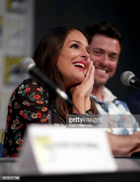 Actors Yara Martinez and Brendan Hines speak at Amazon's 'The Tick' panel at San Diego ComicCon International 2017 at San Diego Convention Center on...