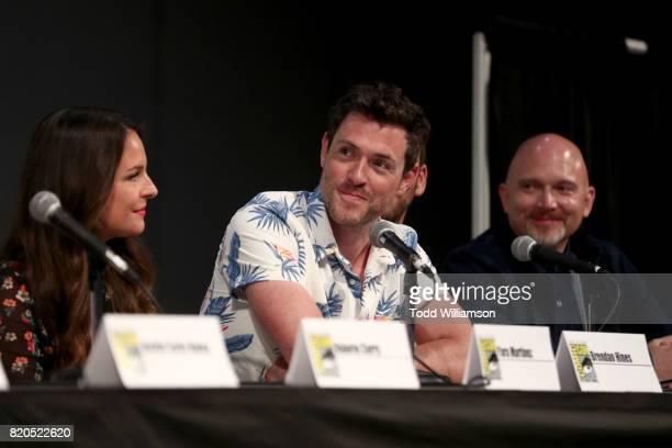 Actors Yara Martinez Brendan Hines and Michael Cerveris speak at Amazon's 'The Tick' panel at San Diego ComicCon International 2017 at San Diego...