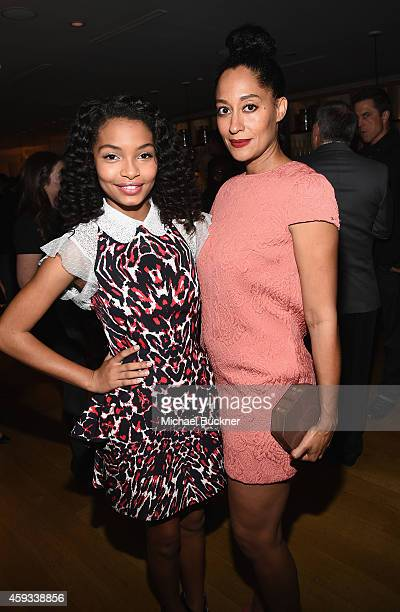 Actors Yara Shahidi and Tracee Ellis Ross attend the HFPA and InStyle Celebrate The 2015 Golden Globe Award Season and Miss Golden Globe at Fig Olive...