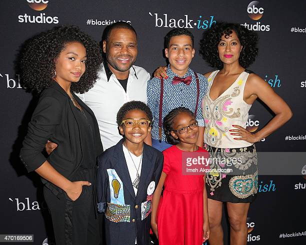 Actors Yara Shahidi Anthony Anderson Marcus Scribner Tracee Ellis Ross Marsai Martin and Miles Brown attend the 'Blackish' ATAS Event at Pacific...