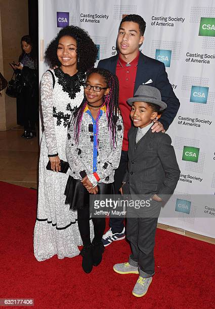 Actors Yara Shahidi Marsai Martin Marcus Scribner and Miles Brown arrive at the 2017 Annual Artios Awards at The Beverly Hilton Hotel on January 19...