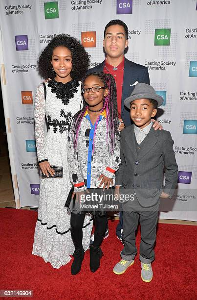 Actors Yara Shahidi Marsai Martin Marcus Scribner and Miles Brown attend the 2017 Annual Artios Awards at The Beverly Hilton Hotel on January 19 2017...