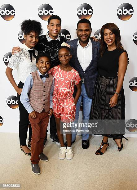 Actors Yara Shahidi Miles Brown Marcus Scribner Marsai Martin and Anthony Anderson and ABC Entertainment President Channing Dungey attend the Disney...