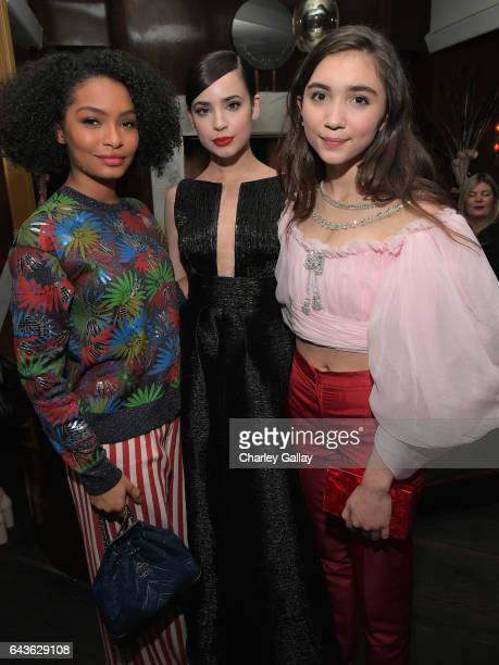 Actors Yara Shahidi Sofia Carson and Rowan Blanchard attend Vanity Fair and L'Oreal Paris Toast to Young Hollywood hosted by Dakota Johnson and...